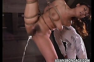 Dudes rope her up and she acquires toy fucked