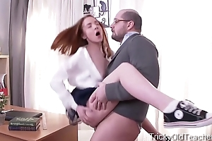 Tricky Old Teacher - Sandra gets tricked into sex by their way perverted teacher
