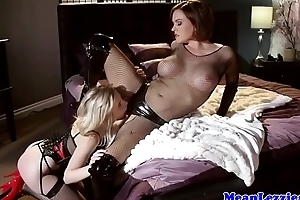 Latex lezdom milf licked out of doors by slave girl