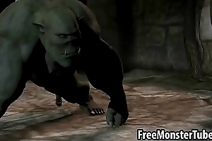 3D infant fucking an orc anally with a strap on dildo