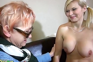 OldNanny granny mature masturbate with orange vibrator