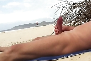 Nude beach stroke of Sexy jogger