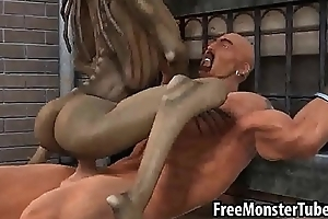 3D cartoon distance from babe riding a stud'_s cock outdoors