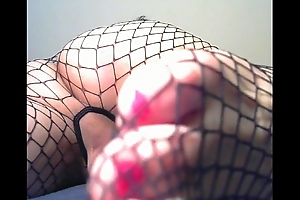 closeup of my ass and feet in fishnet