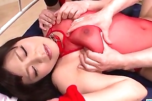 Aika Hoshino red lingerie whittle fucked till such time as exhaustion