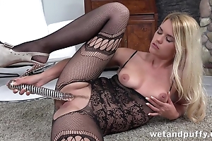 Horny infant yon lingerie cums from dildo by way of by oneself