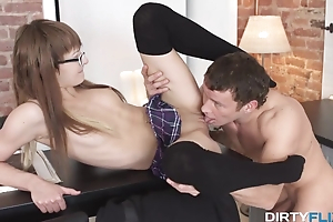 Stallion distracts wee newcomer disabuse of books and uses her ass