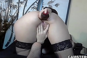 Using her anal knick-knack to masturbate her tight asshole