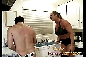 Angry dominatrix surrounding big muscles hurts her husband really bad-6