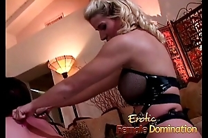 Exploitatory talking blonde mistress pegs her obedient concomitant with a strap-on-6